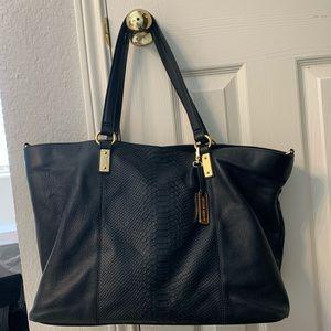 Audrey Brooke black leather tote shoulder bag